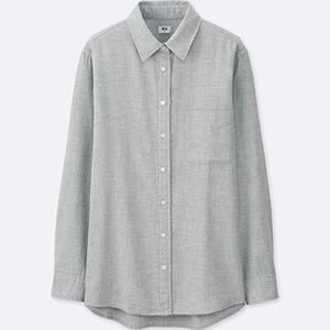 Uniqlo Gray Flannel Long Sleeve Button Down Shirt